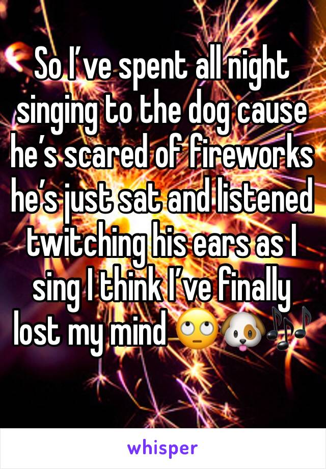 So I've spent all night singing to the dog cause he's scared of fireworks he's just sat and listened twitching his ears as I sing I think I've finally lost my mind 🙄🐶🎶