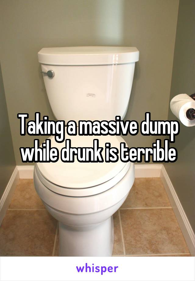 Taking a massive dump while drunk is terrible