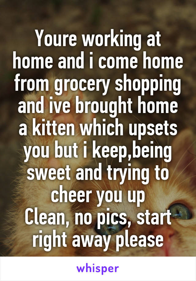 Youre working at home and i come home from grocery shopping and ive brought home a kitten which upsets you but i keep,being sweet and trying to cheer you up Clean, no pics, start right away please