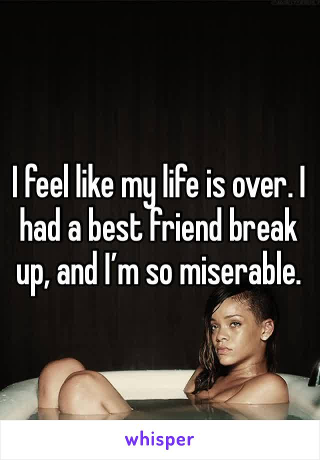 I feel like my life is over. I had a best friend break up, and I'm so miserable.