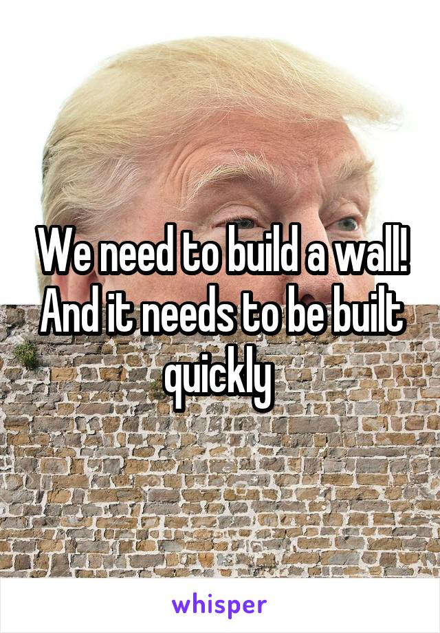 We need to build a wall! And it needs to be built quickly