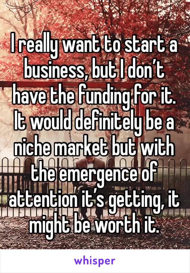 I really want to start a business, but I don't have the funding for it. It would definitely be a niche market but with the emergence of attention it's getting, it might be worth it.