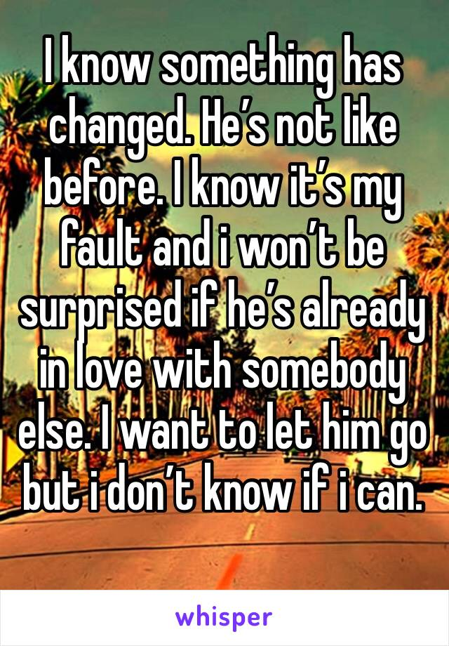 I know something has changed. He's not like before. I know it's my fault and i won't be surprised if he's already in love with somebody else. I want to let him go but i don't know if i can.