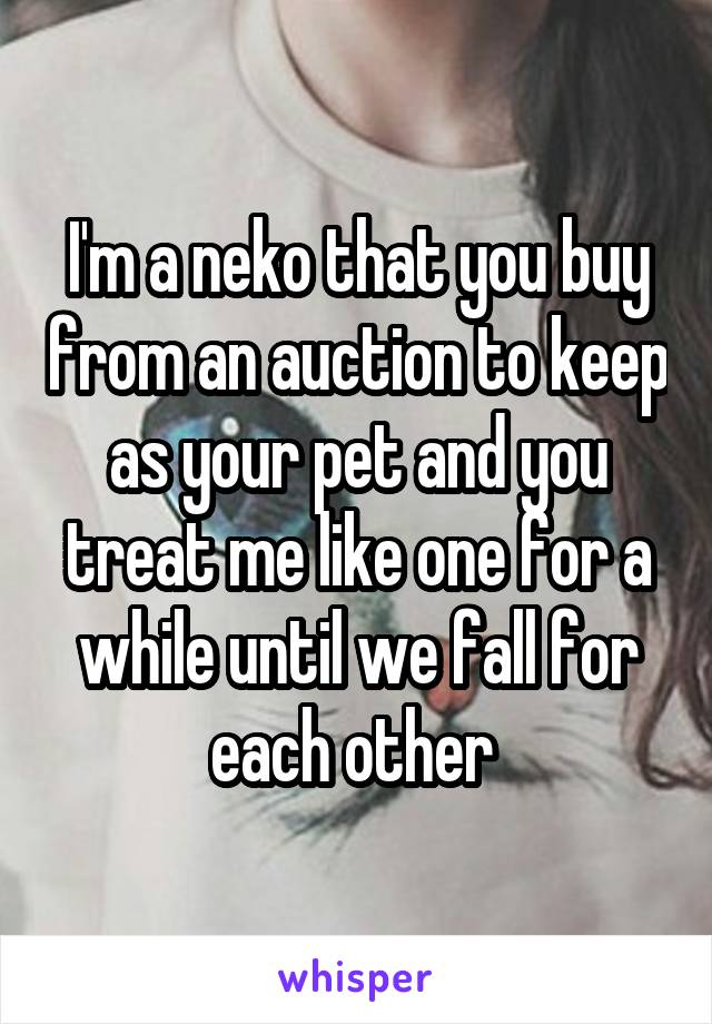 I'm a neko that you buy from an auction to keep as your pet and you treat me like one for a while until we fall for each other