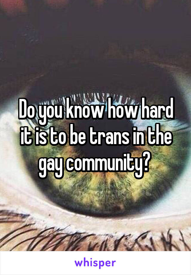 Do you know how hard it is to be trans in the gay community?