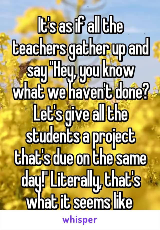 """It's as if all the teachers gather up and say """"Hey, you know what we haven't done? Let's give all the students a project that's due on the same day!"""" Literally, that's what it seems like"""