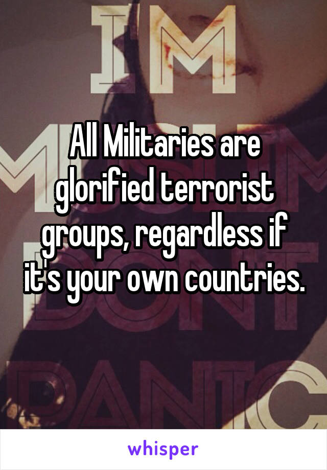 All Militaries are glorified terrorist groups, regardless if it's your own countries.