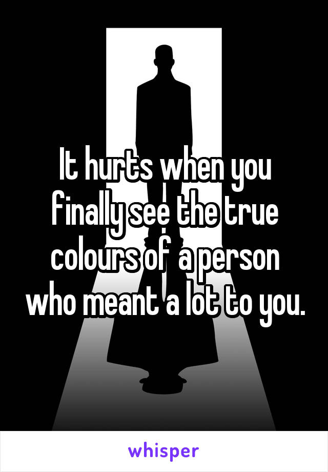 It hurts when you finally see the true colours of a person who meant a lot to you.