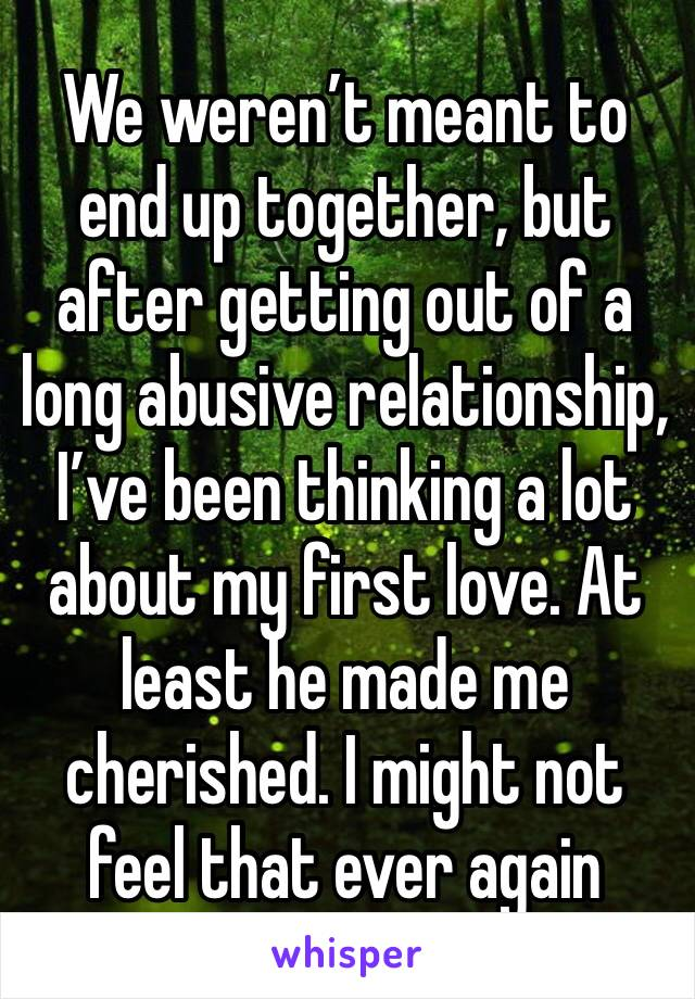 We weren't meant to end up together, but after getting out of a long abusive relationship, I've been thinking a lot about my first love. At least he made me cherished. I might not feel that ever again