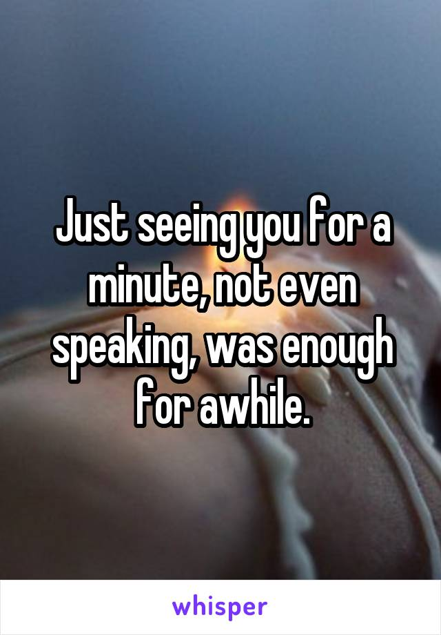 Just seeing you for a minute, not even speaking, was enough for awhile.