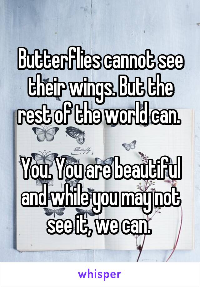 Butterflies cannot see their wings. But the rest of the world can.   You. You are beautiful and while you may not see it, we can.