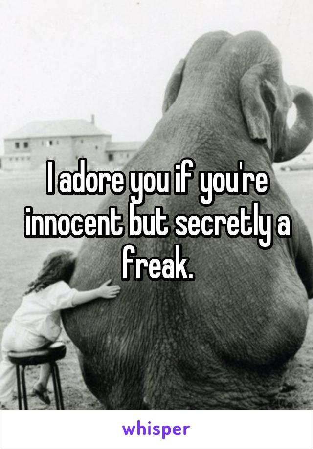 I adore you if you're innocent but secretly a freak.
