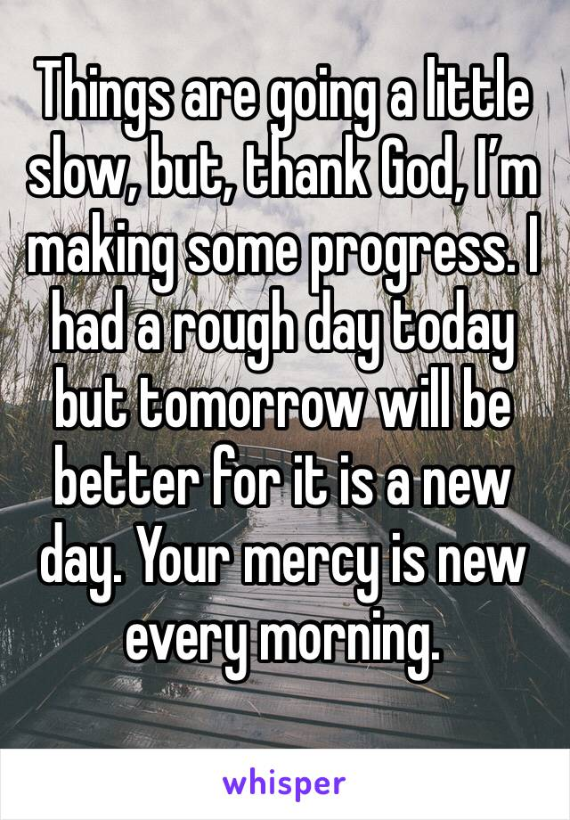 Things are going a little slow, but, thank God, I'm making some progress. I had a rough day today but tomorrow will be better for it is a new day. Your mercy is new every morning.