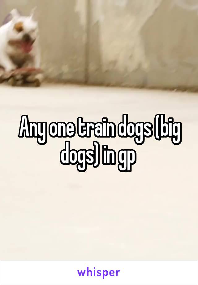 Any one train dogs (big dogs) in gp
