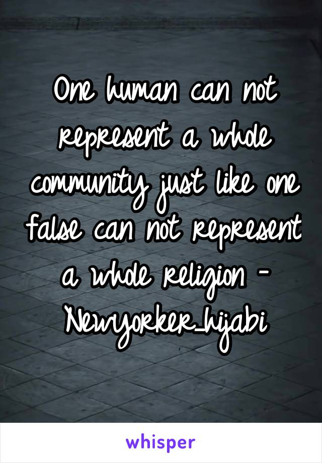 One human can not represent a whole community just like one false can not represent a whole religion - Newyorker_hijabi