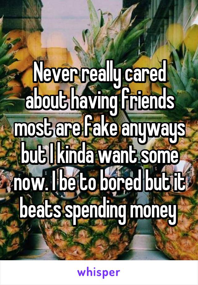 Never really cared about having friends most are fake anyways but I kinda want some now. I be to bored but it beats spending money