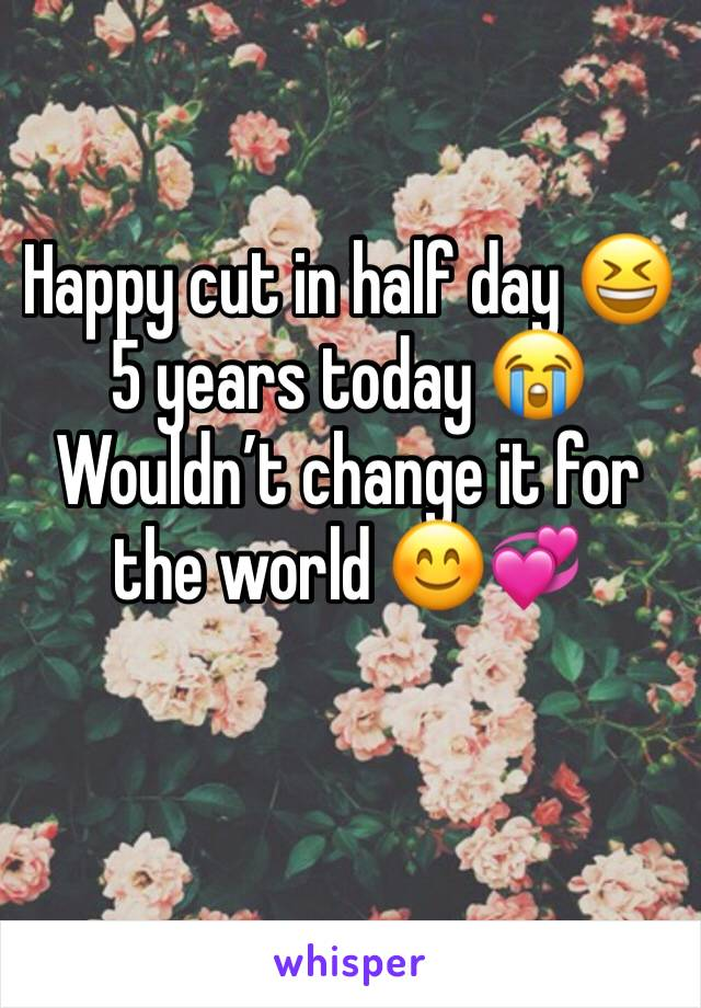 Happy cut in half day 😆 5 years today 😭 Wouldn't change it for the world 😊💞