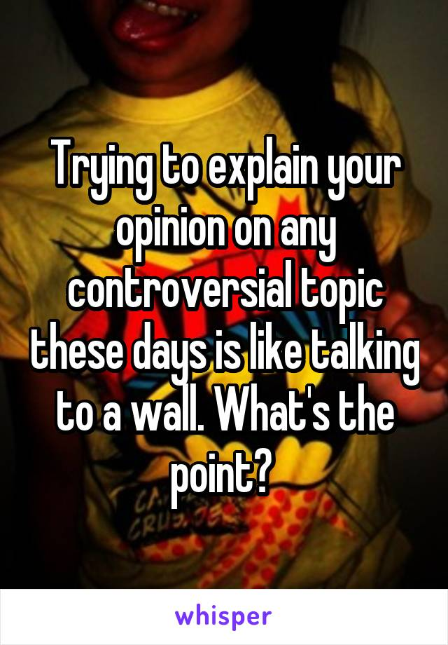 Trying to explain your opinion on any controversial topic these days is like talking to a wall. What's the point?
