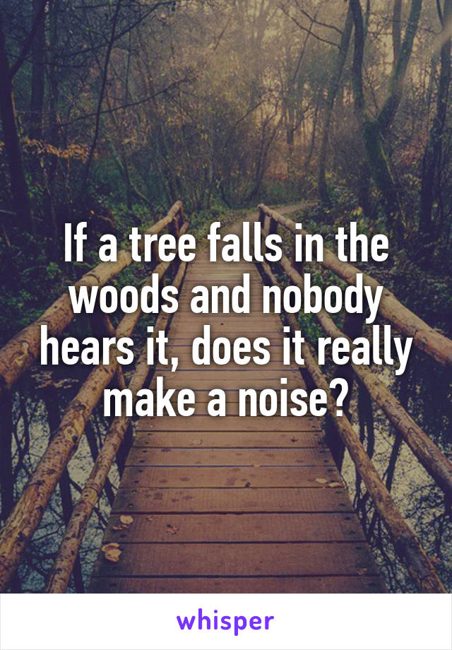 If a tree falls in the woods and nobody hears it, does it really make a noise?