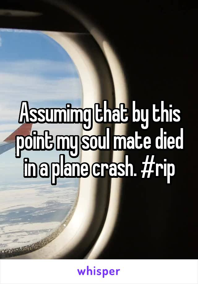 Assumimg that by this point my soul mate died in a plane crash. #rip
