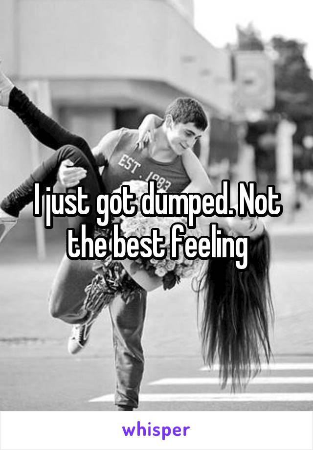 I just got dumped. Not the best feeling