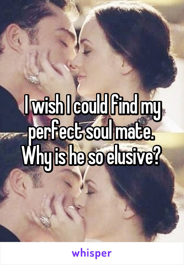 I wish I could find my perfect soul mate.  Why is he so elusive?