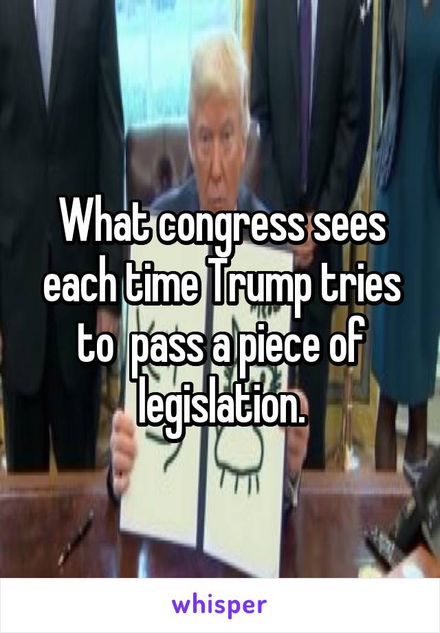 What congress sees each time Trump tries to  pass a piece of legislation.