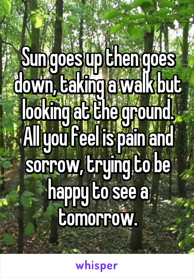 Sun goes up then goes down, taking a walk but looking at the ground. All you feel is pain and sorrow, trying to be happy to see a tomorrow.