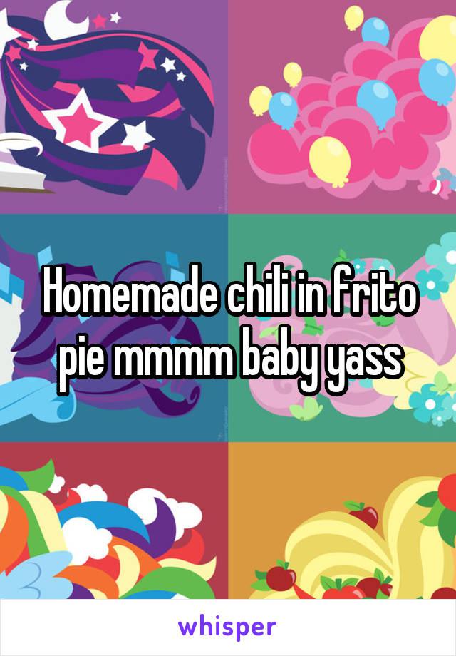 Homemade chili in frito pie mmmm baby yass