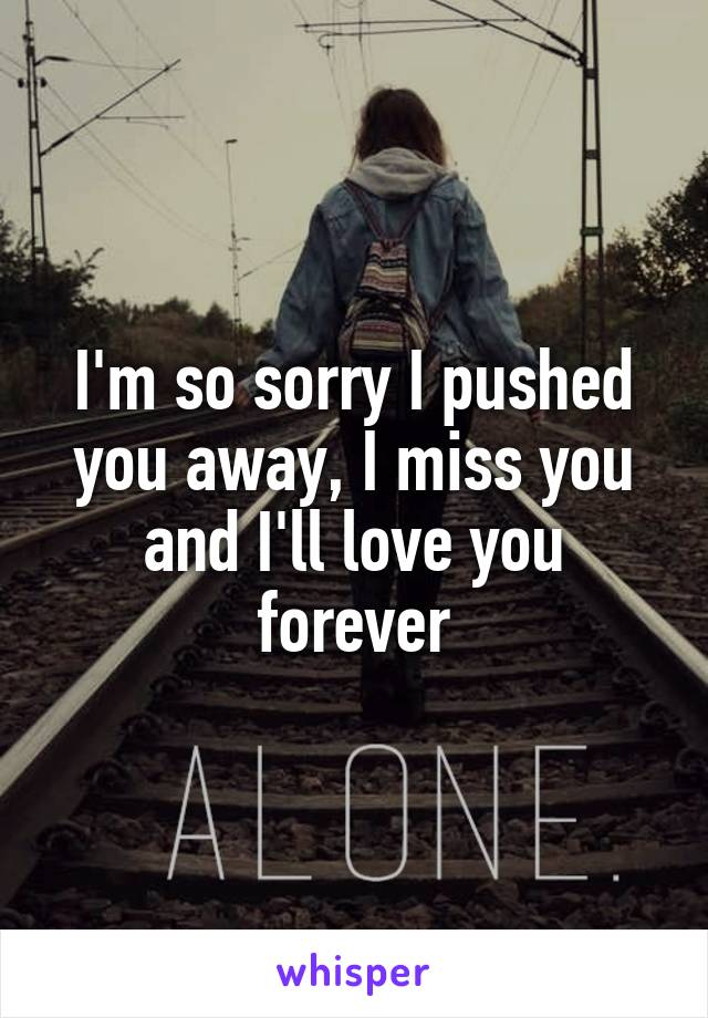 I'm so sorry I pushed you away, I miss you and I'll love you forever