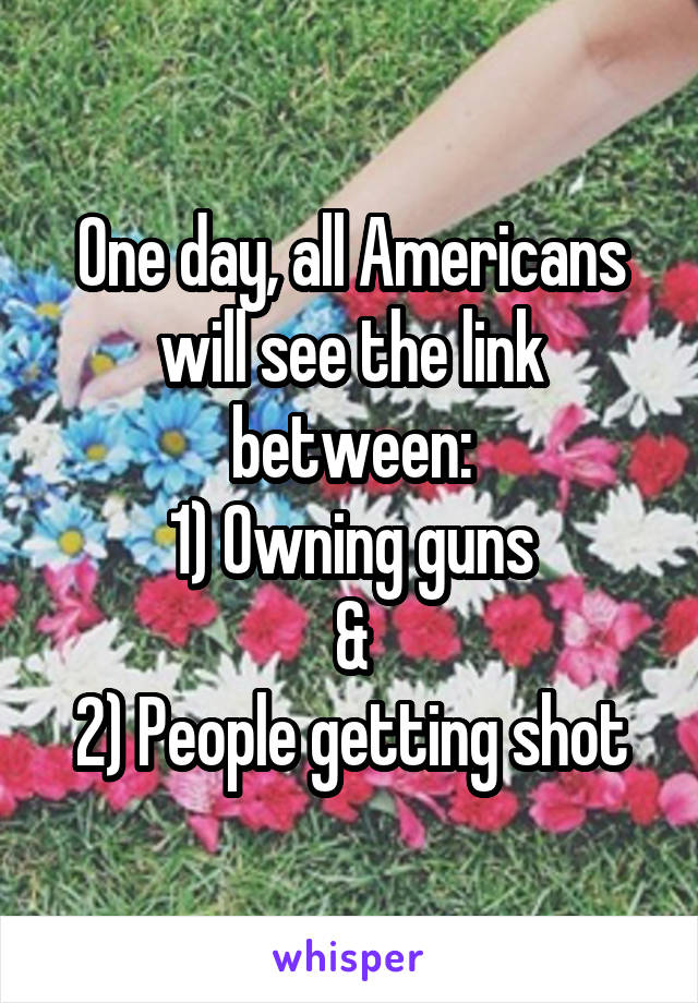 One day, all Americans will see the link between: 1) Owning guns & 2) People getting shot