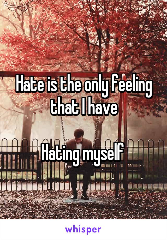 Hate is the only feeling that I have  Hating myself