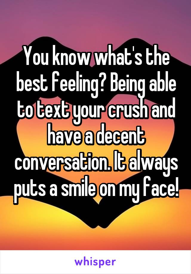 You know what's the best feeling? Being able to text your crush and have a decent conversation. It always puts a smile on my face!