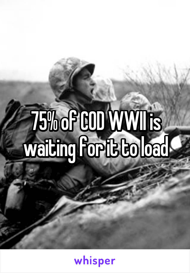 75% of COD WWII is waiting for it to load