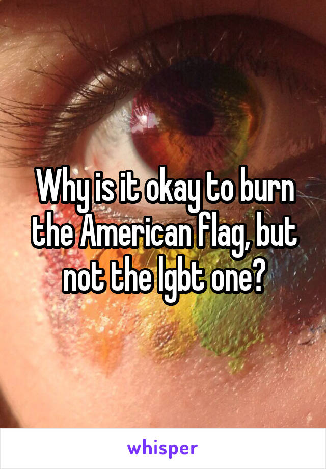 Why is it okay to burn the American flag, but not the lgbt one?