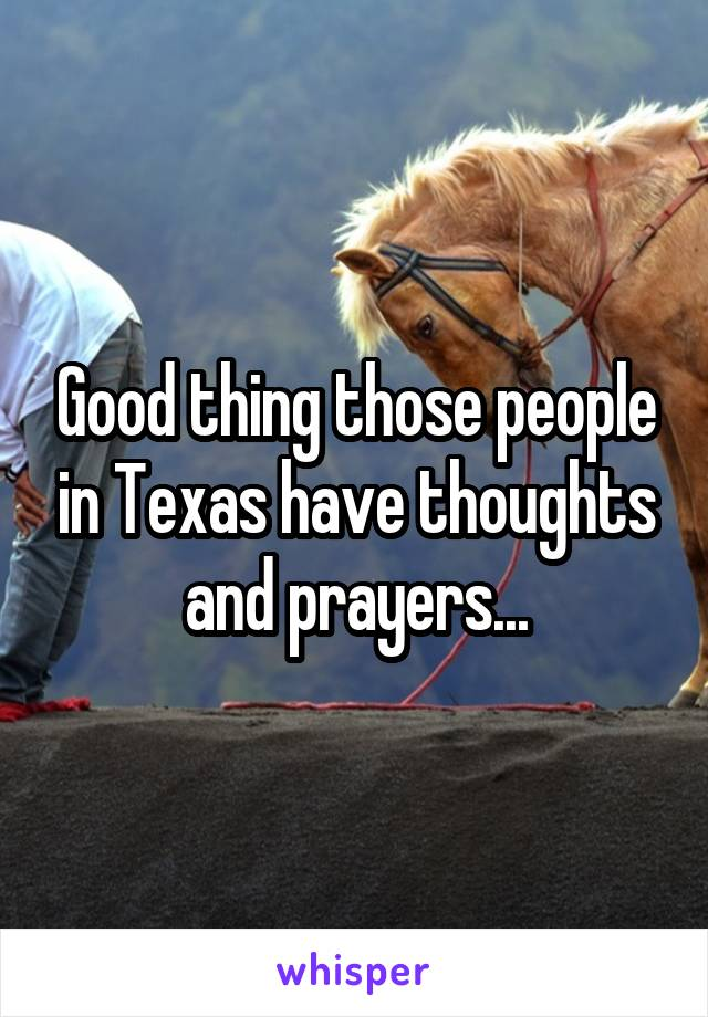Good thing those people in Texas have thoughts and prayers...