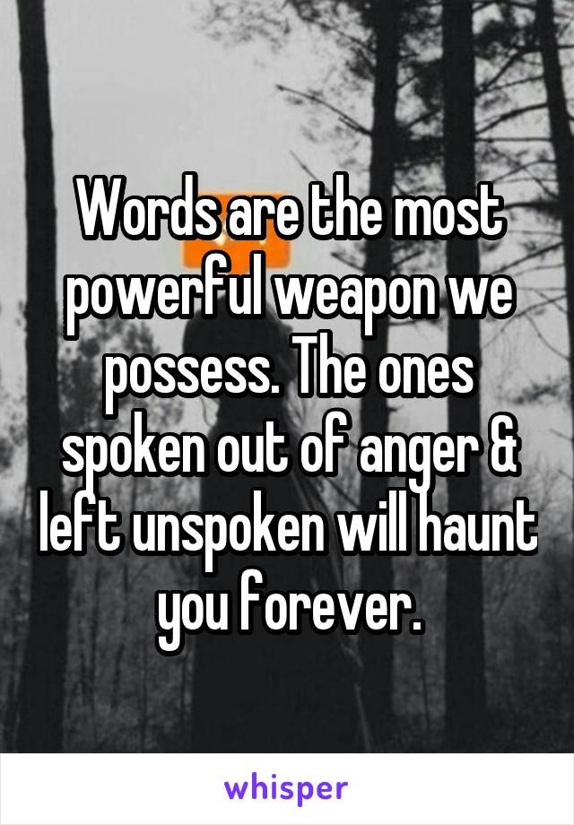 Words are the most powerful weapon we possess. The ones spoken out of anger & left unspoken will haunt you forever.