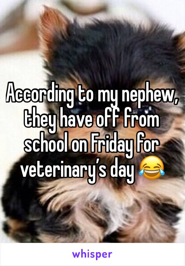 According to my nephew, they have off from school on Friday for veterinary's day 😂