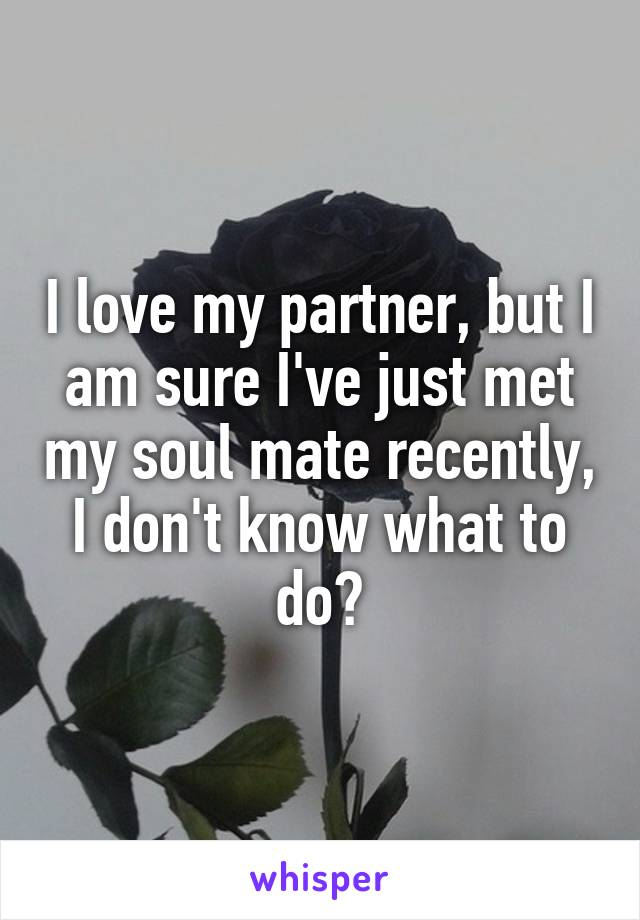 I love my partner, but I am sure I've just met my soul mate recently, I don't know what to do?