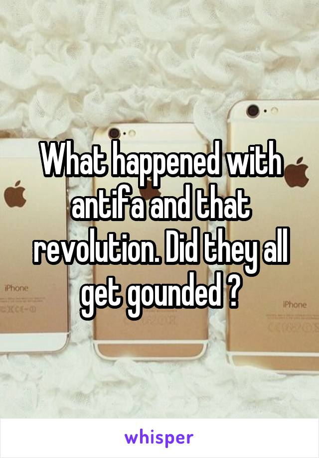 What happened with antifa and that revolution. Did they all get gounded ?