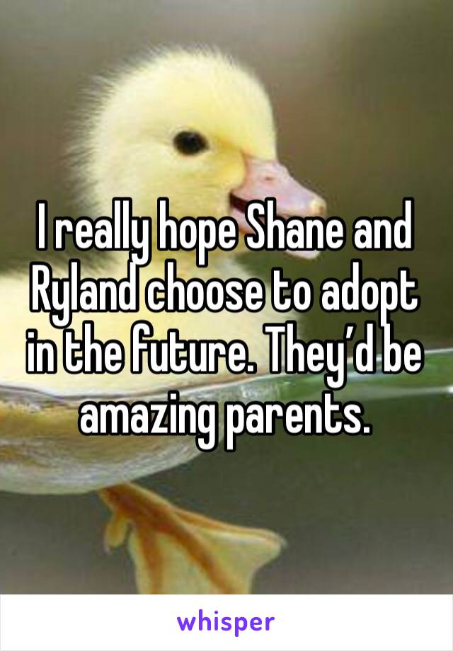 I really hope Shane and Ryland choose to adopt in the future. They'd be amazing parents.