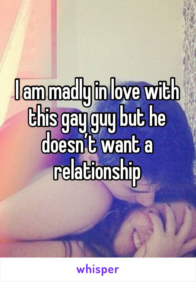 I am madly in love with this gay guy but he doesn't want a relationship