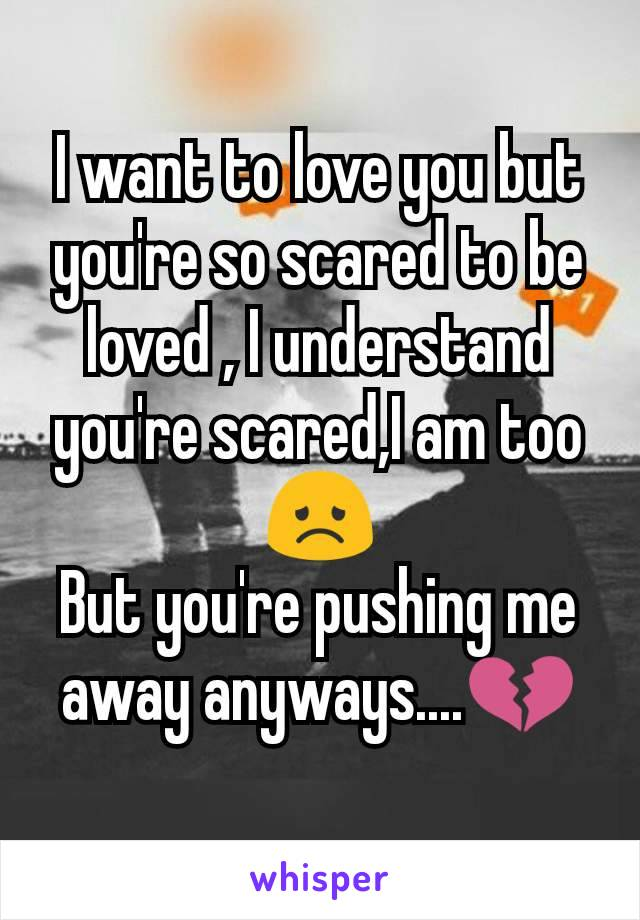 I want to love you but you're so scared to be loved , I understand you're scared,I am too😞 But you're pushing me away anyways....💔