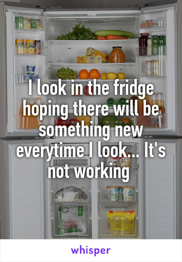 I look in the fridge hoping there will be something new everytime I look... It's not working