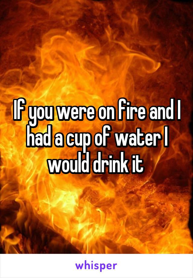 If you were on fire and I had a cup of water I would drink it