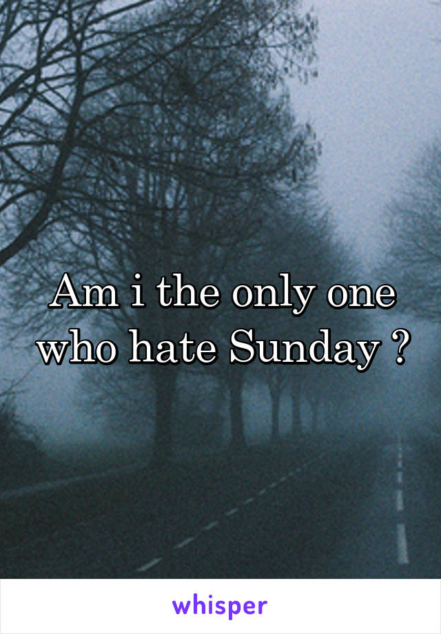 Am i the only one who hate Sunday ?