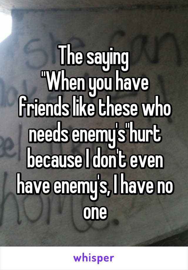 """The saying  """"When you have friends like these who needs enemy's""""hurt because I don't even have enemy's, I have no one"""