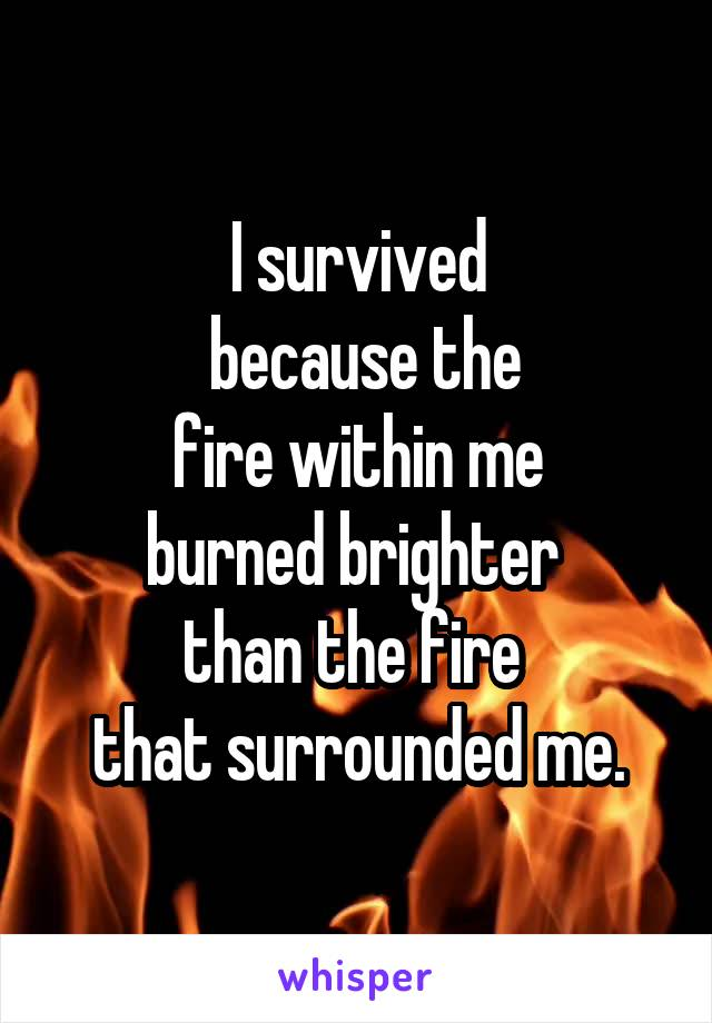 I survived  because the  fire within me  burned brighter  than the fire  that surrounded me.