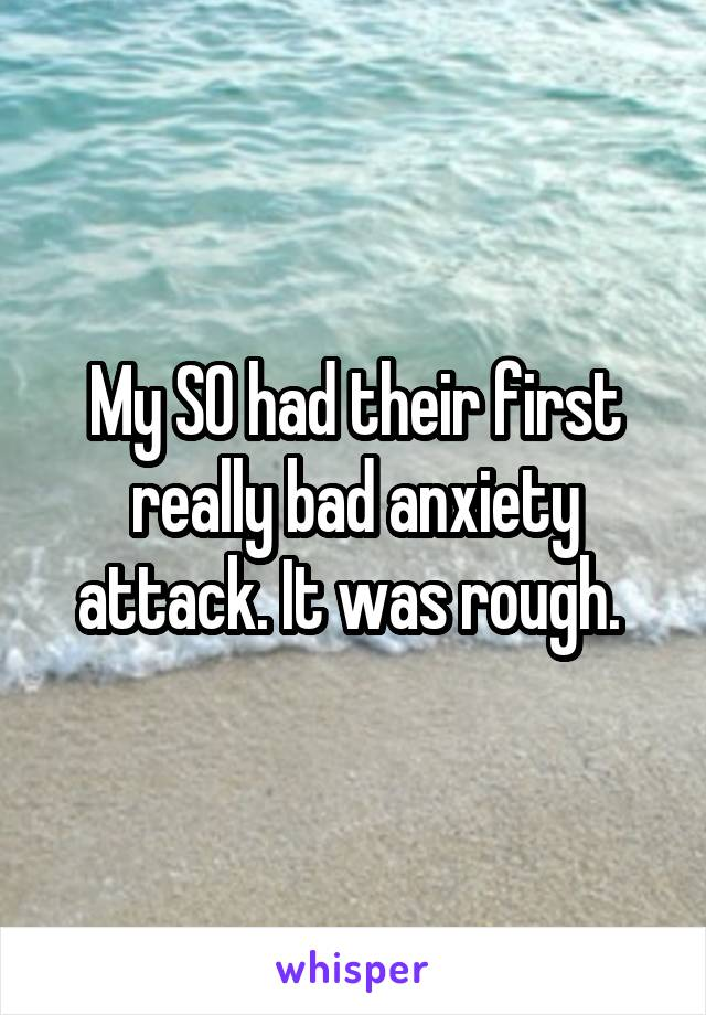 My SO had their first really bad anxiety attack. It was rough.