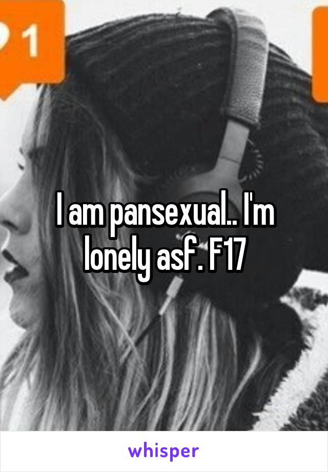 I am pansexual.. I'm lonely asf. F17